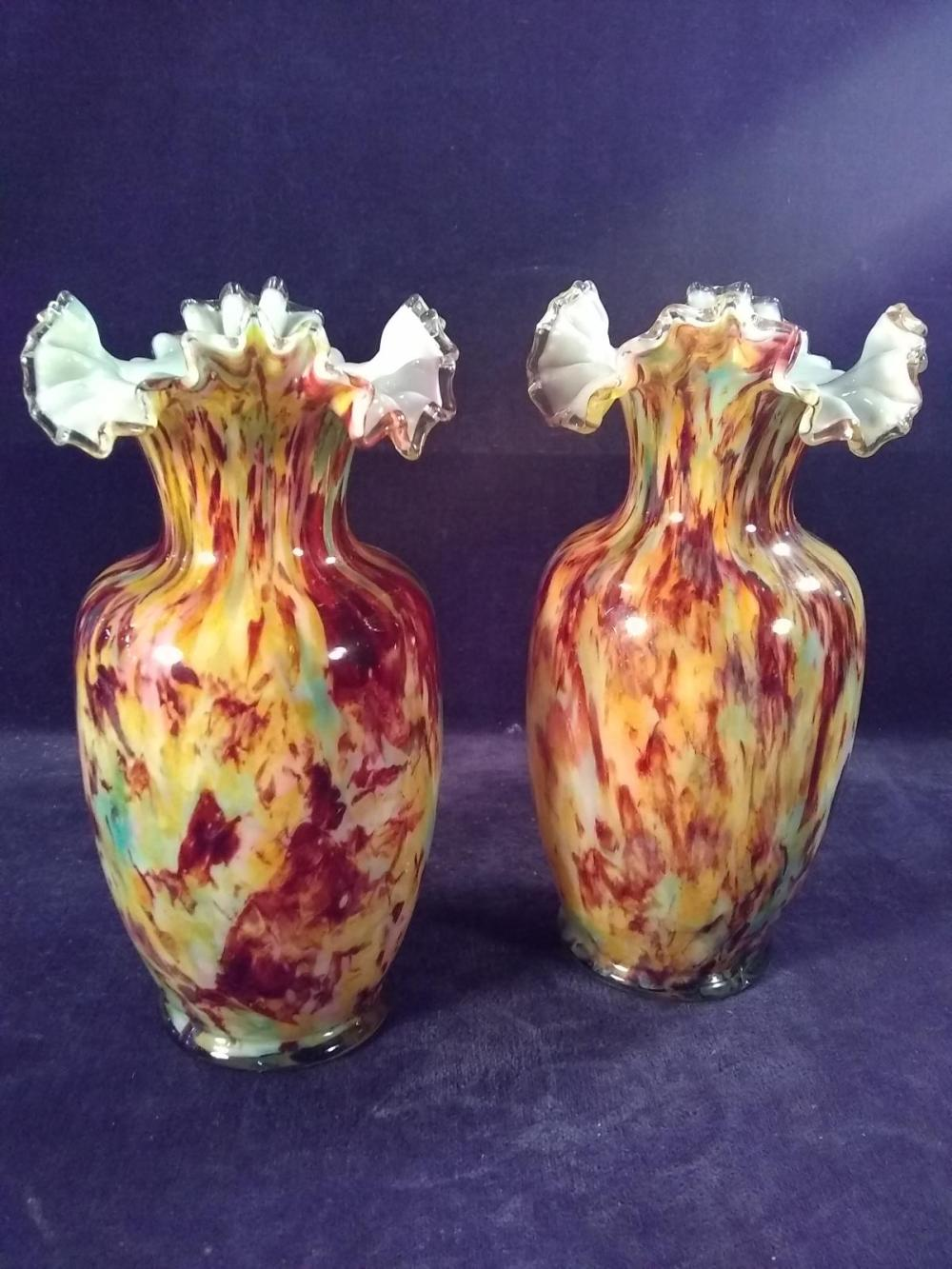 Pair of Fenton End of Day Vases