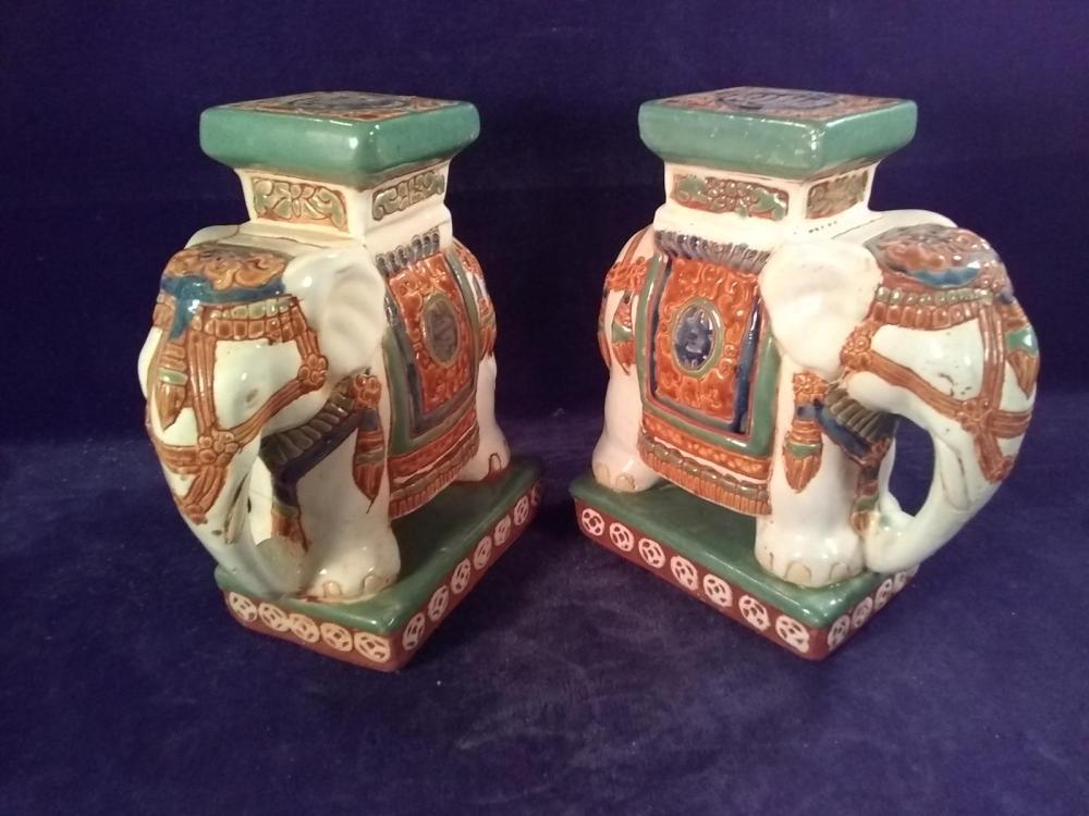Pair of Porcelain Satsuma Elephant Book Ends