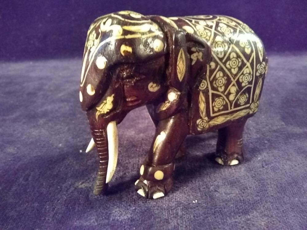 Handcarved Wooden Elephant Figure w/ Inlay