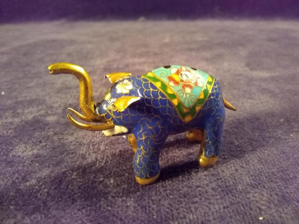 Cloisonne Miniature Elephant Figure
