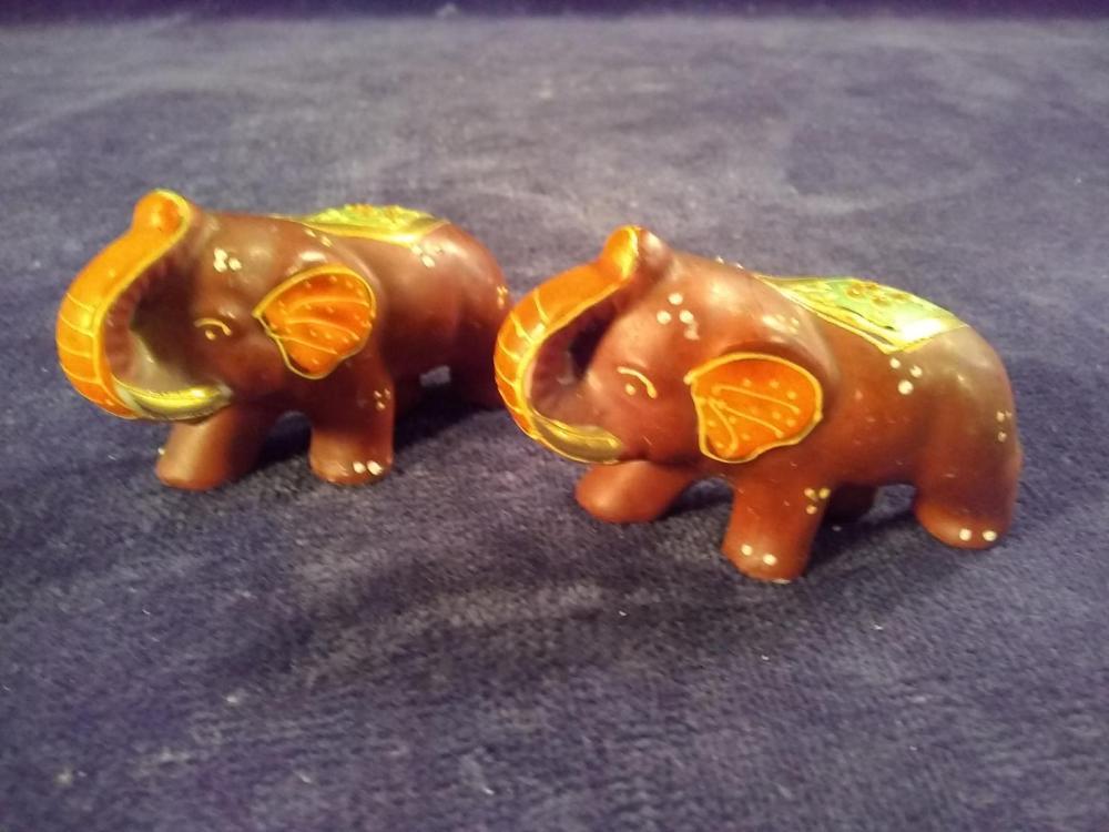 Pair of Porcelain Miniature  Satsuma Elephant Book Ends