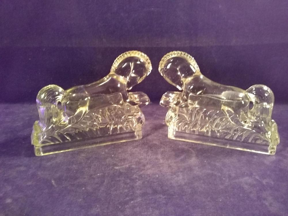 Pair of Early Horse Candy Containers