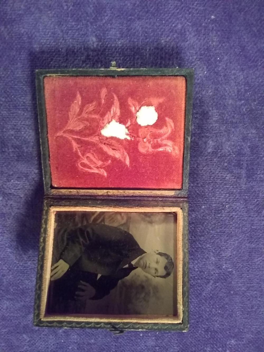 Vintage Tin Type of Gentlemen w/ Case