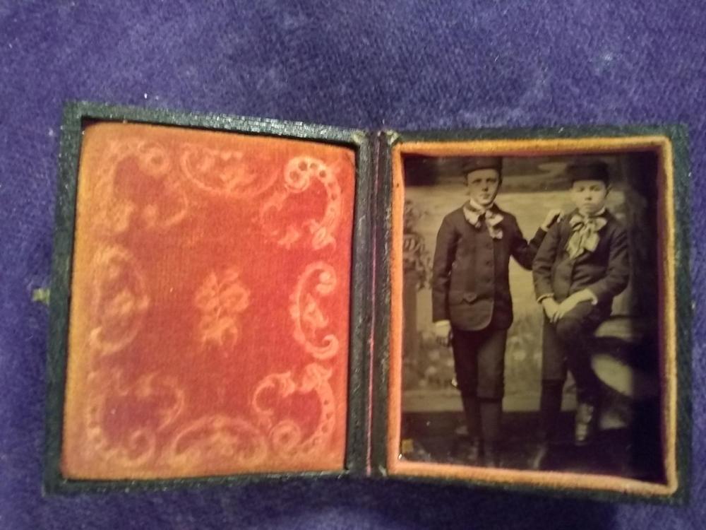 Vintage Tin Type of Set of Twins  w/ Case