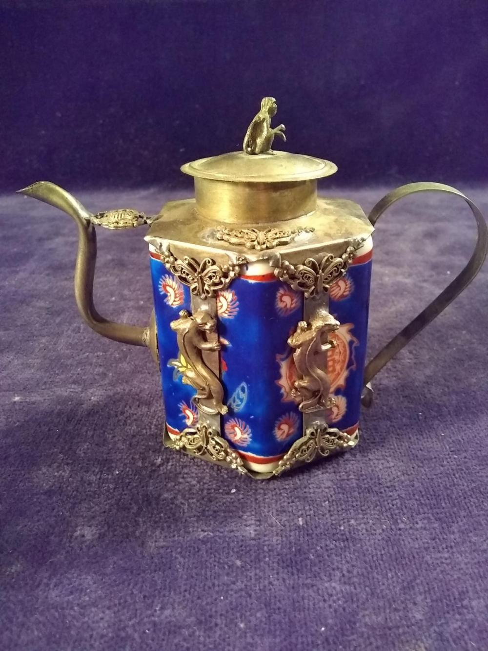 Early Export Porcelain and Pewter Wine Pot