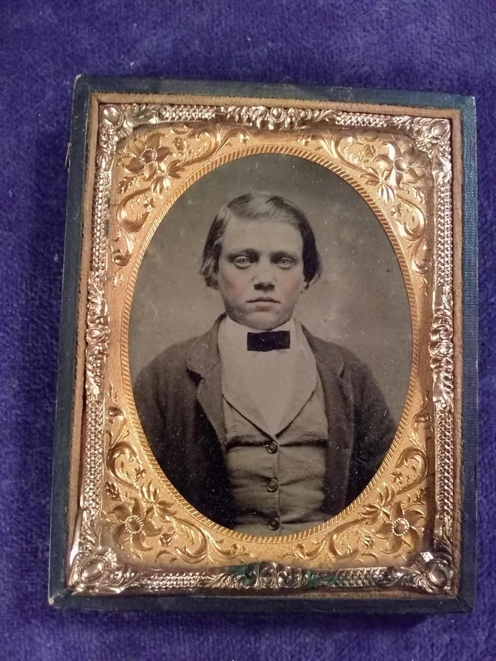 Vintage Tin Type of Young Man (missing Lid)