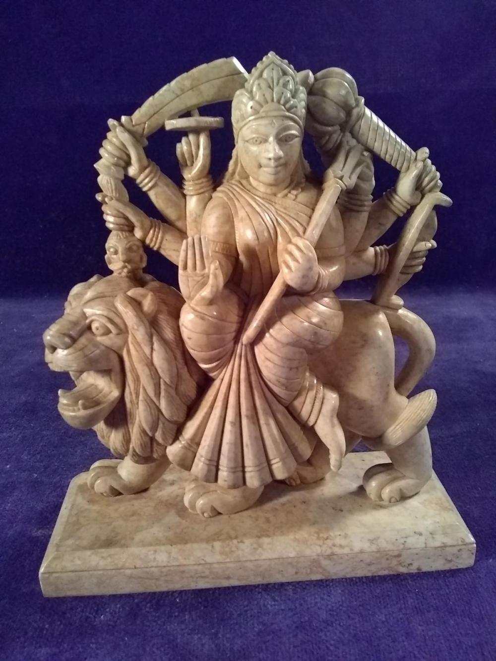 Antique Carved Soap Stone Hindu Goddess on Lion - Simhavahini Durga