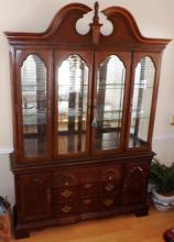 Two Piece Cherry Lighted China Cabinet