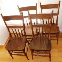 Collection 4 Oak Press Back Chairs