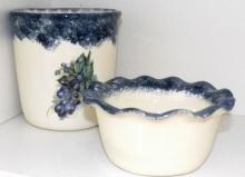 Collection 2 Pottery Items (Bowl, Wine Bucket)