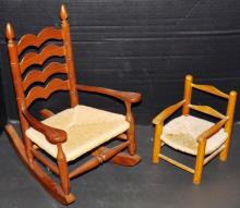 Collection 2 Wood & Woven Seat Doll Chairs