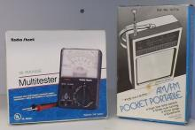 Box Lot Assorted Electronics Voltmeter and Radio