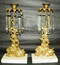 Marble base Brass Girandole Figurine Candlesticks with Crystal Bobeche