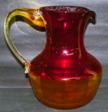 Amberina Art Glass Hand Blown Pitcher