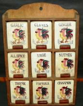 Porcelain Chicken Spice Containers with Wooden Rack