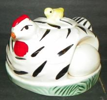 Porcelain Chicken Condiment Jar with Removable Salt and Pepper Eggs