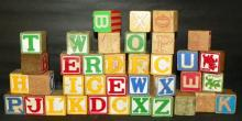 37 Children's Wooden Alphabet Blocks