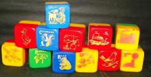 Collection of 12 Plastic Children's Blocks