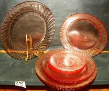 Collection 12 Pink Depression Swirl Dishes