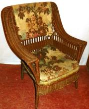 Early Wicker Chair w/ upholstered cushion