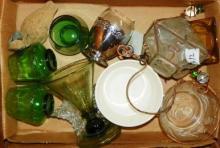 Box Lot - Various Glassware, Green Glasses