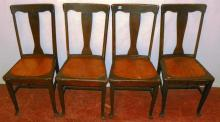 Collection 4 Oak T-Back Chairs w/ Pierced Wooden Seats
