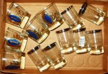 Box Lot - Platinum Edge Juice Glasses & Blue Decorated Glasses