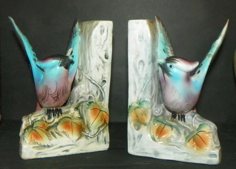 Pair Ceramic Bird Bookends