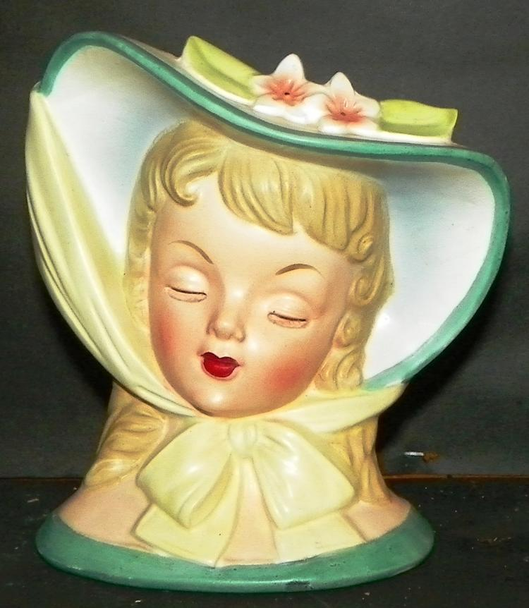 Napco 1959 Head Vase - Tied Bonnet Hat