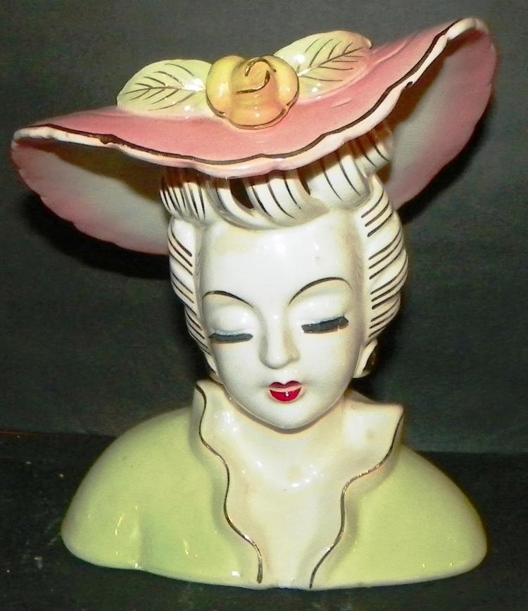 Head Vase - Pink Brim Hat