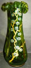 Forest Green Fenton Vase w/ applied flowers and gold guiding