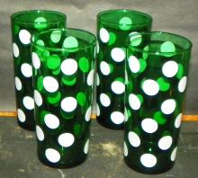 Collection 4 Green Dot Tea Glasses