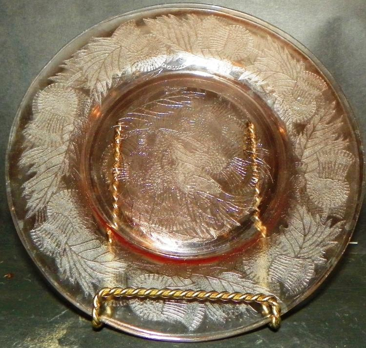 Collection 2 Pink Depression Luncheon Plates - Thistle