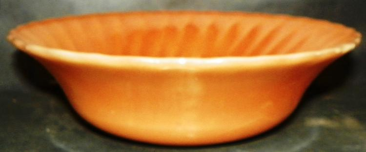 Fire King Peach Luster Ribbed Edged Mixing Bowl