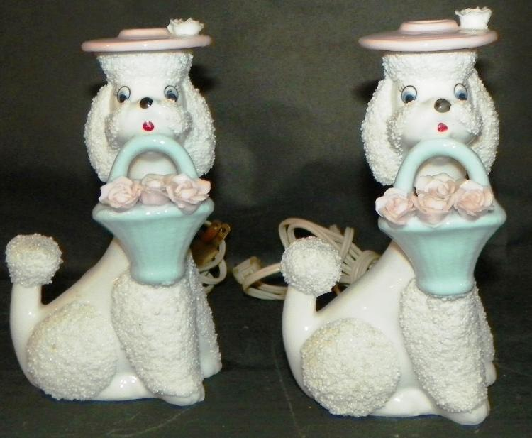 Pair Ceramic Poodle Bedside Lamps