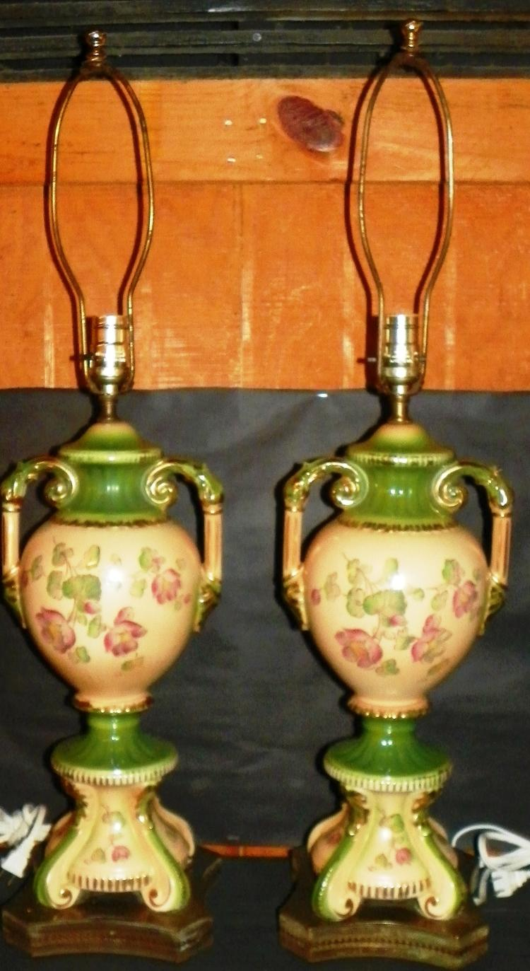 Pair Hand painted Victorian Lamps