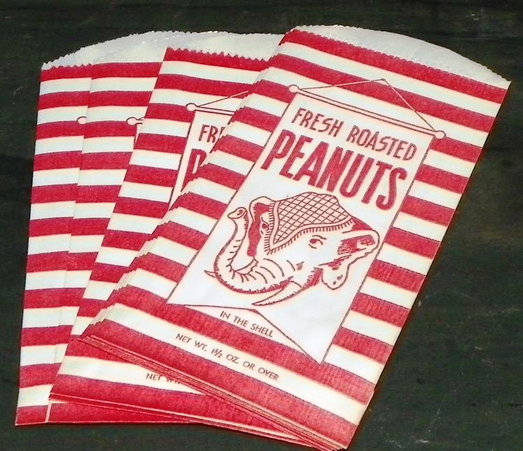 Collection 10 Fresh Roasted Peanut Paper Bags -  1.5oz