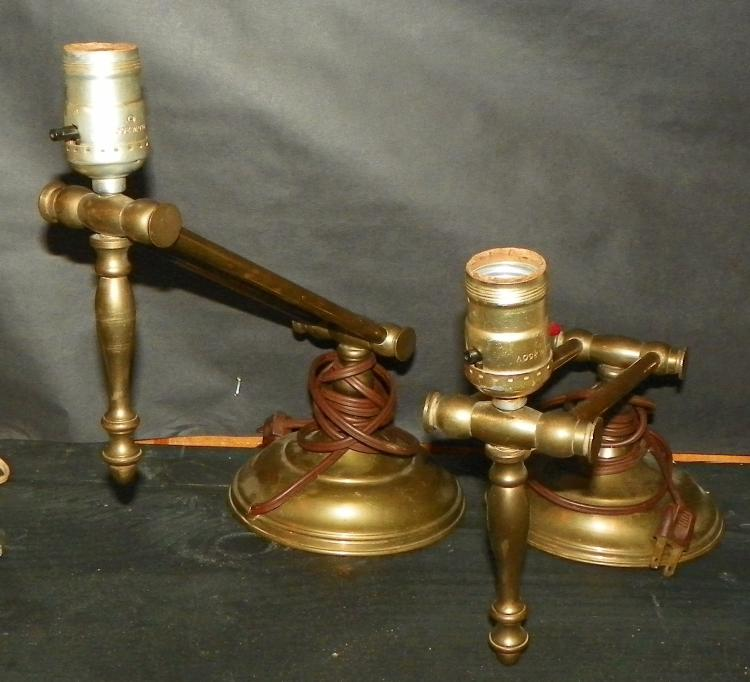 Pair Brass Piano Lamps