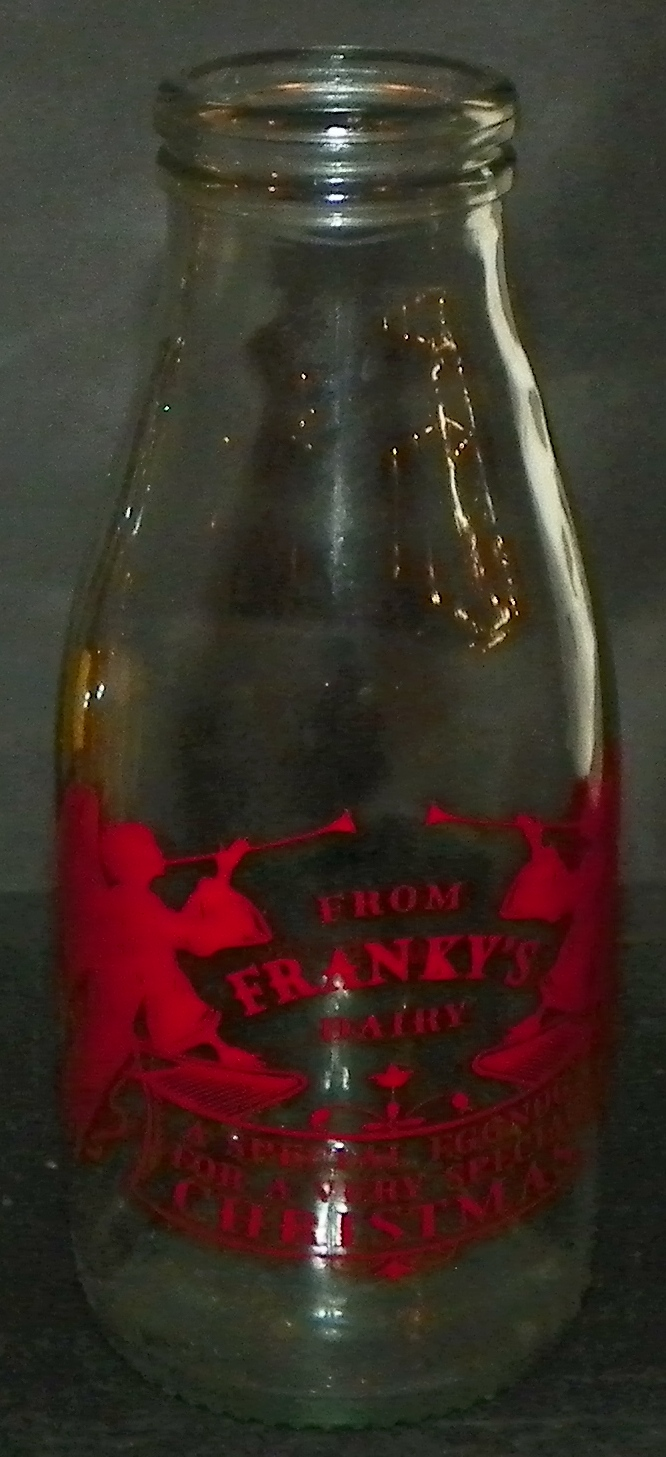 Franky's Dairy Advertising Eggnog Bottle