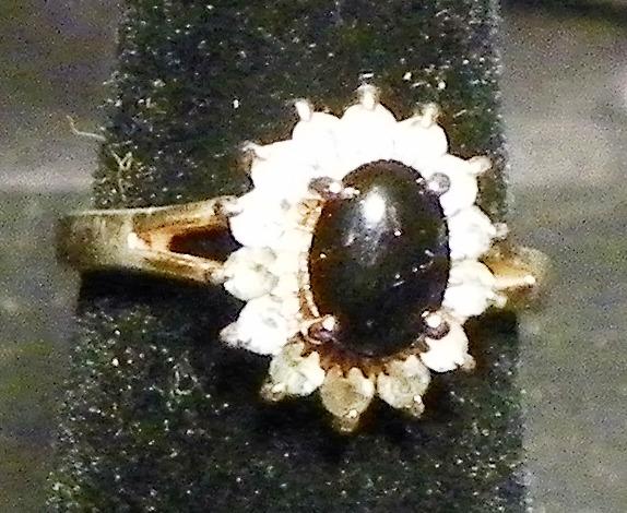 Black Onyx & Rhinestone Diamond Ring