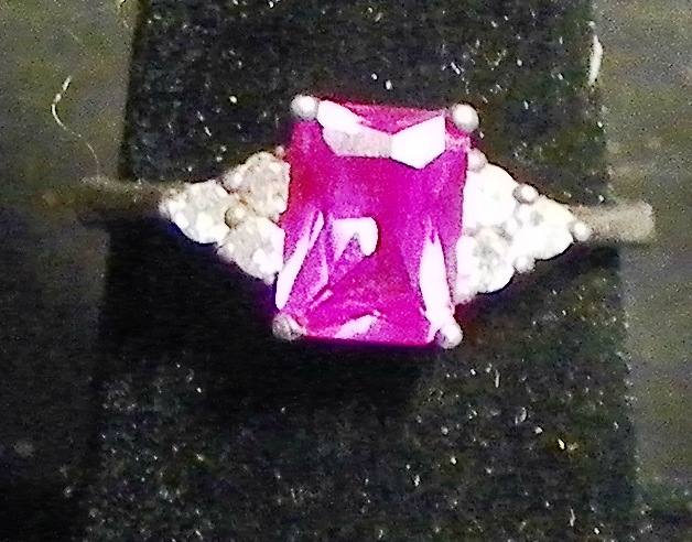 Sterling Pink Citrine & Rhinestone Diamond Ring