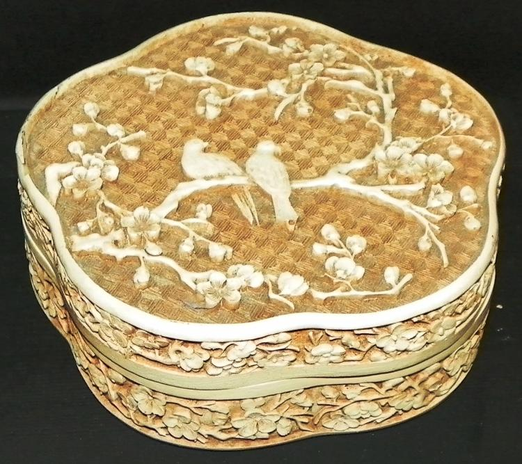 Carved Bone Raised Relief Jewelry Box