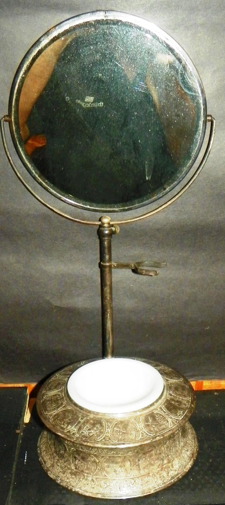 Silver Plated Shaving Mirror w/ Glass Bowl
