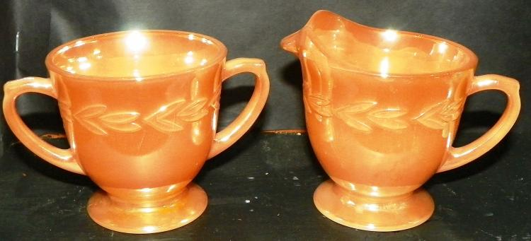 Pair Fire King Peach Luster Sugar & Creamer