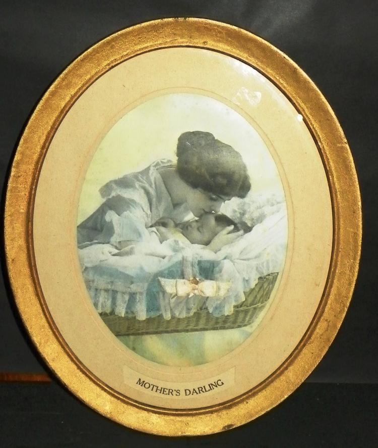 Framed Oval Print - Mother & Child