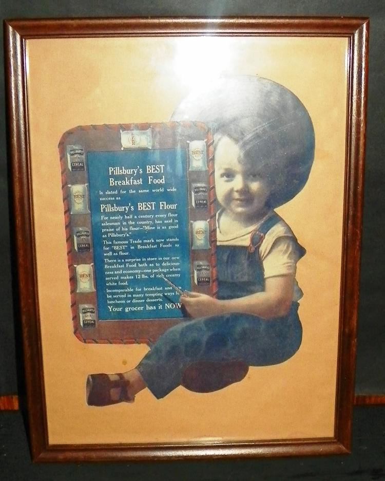 Framed Pillsbury Flour Advertisement