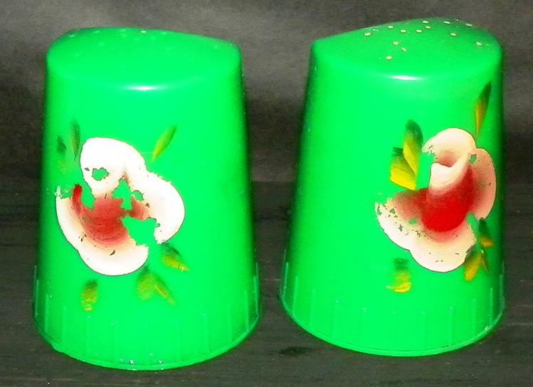 Pair of Painted Plastic Novelty Salt and Pepper Shakers