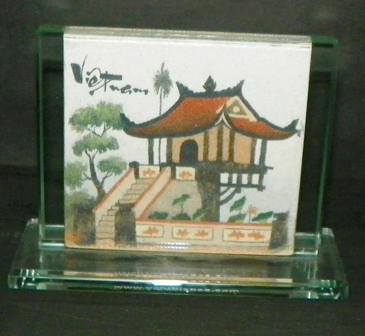 Vietnam Watercolor in Crystal Stand