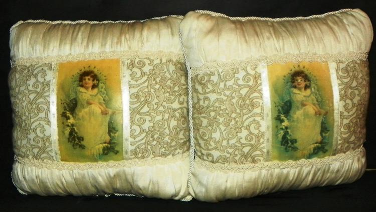 Pair of Contemporary Victorian Print Pillows