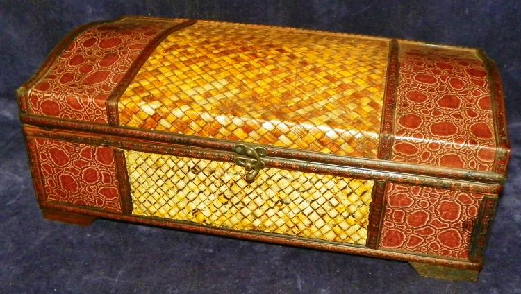 Contemporary Faux Leather and Woven Document Box